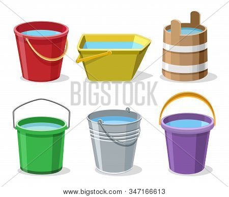 Buckets With Water. Pailful Set Isolated On White Background, Garden Bucket Filled Water Set Vector