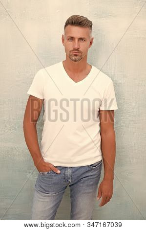 Posture Has Huge Impact On Mental And Physical Health. Handsome Mature Man In Casual Wear. Confident