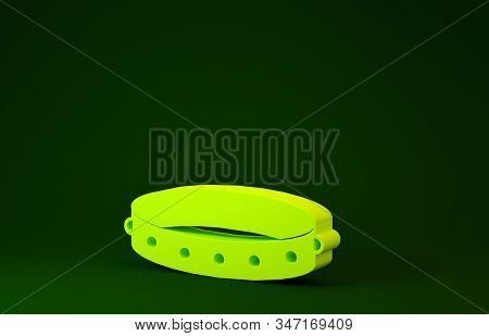 Yellow Leather Fetish Collar With Metal Spikes On Surface Icon Isolated On Green Background. Fetish