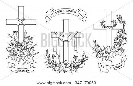 Cross With Lilies. Religious Christian Easter Symbol. Set Of Crosses With Lilies, Shroud And Crown O