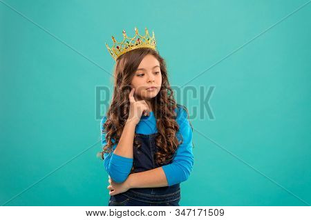 Thoughtful Baby. Lady Little Princess. Girl Wear Crown. Princess Manners. Winner Of Beauty Competiti