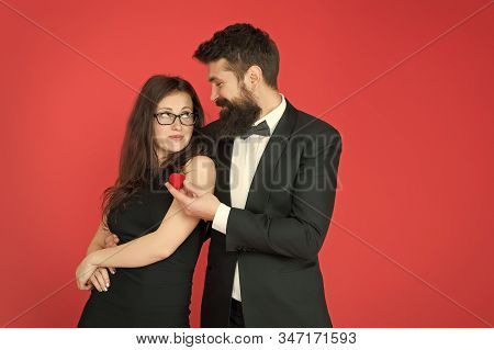 Time For Love. Couple In Love Announce Engagement. Bearded Man Make Marriage Proposal To Sexy Woman.