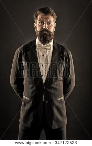 Well Dressed And Scrupulously Neat. Hipster Formal Suit Tuxedo. Official Event Dress Code. Male Fash