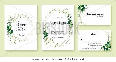 Greenery Wedding Invitation, Save The Date, Thank You, Rsvp Card Design Template. Lemon Leaf, Silver