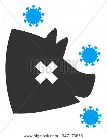 Raster Swine Flu Flat Icon. Raster Pictogram Style Is A Flat Symbol Swine Flu Icon On A White Backgr