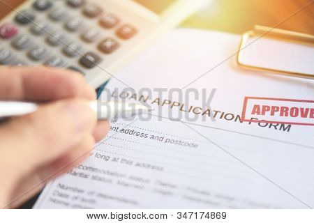 Financial Loan Calculator Or Lending For Car And Home Loan Application Agreement / Loan Approval Con
