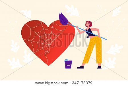 Metaphor Of Love, Locked Heart, Heart-free, Betrayal And Relationship. Woman Frees A Heart Entangled