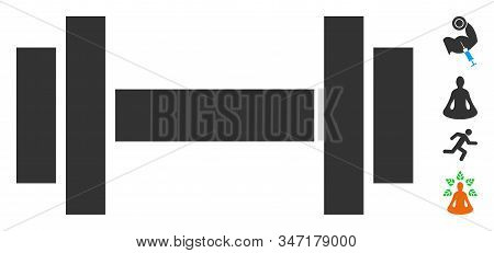 Barbell Icon. Illustration Contains Vector Flat Barbell Pictograph Isolated On A White Background, A