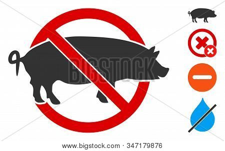 No Swine Icon. Illustration Contains Vector Flat No Swine Pictogram Isolated On A White Background,