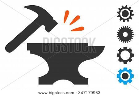 Smithy Icon. Illustration Contains Vector Flat Smithy Pictograph Isolated On A White Background, And