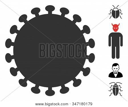 Virus Shell Icon. Illustration Contains Vector Flat Virus Shell Pictograph Isolated On A White Backg