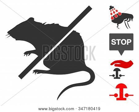 Stop Rats Icon. Illustration Contains Vector Flat Stop Rats Iconic Symbol Isolated On A White Backgr