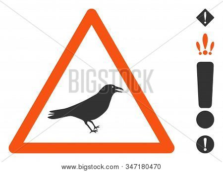 Bird Warning Icon. Illustration Contains Vector Flat Bird Warning Pictograph Isolated On A White Bac