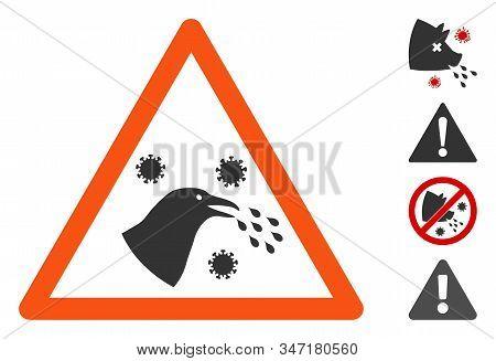 Bird Infection Warning Icon. Illustration Contains Vector Flat Bird Infection Warning Pictograph Iso