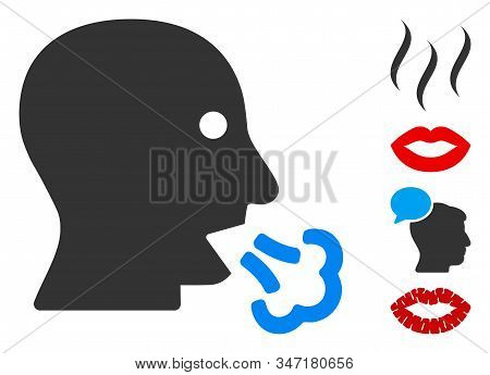 Mouth Breath Icon. Illustration Contains Vector Flat Mouth Breath Pictogram Isolated On A White Back