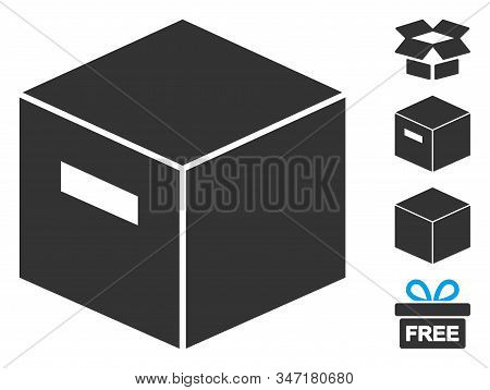 Goods Box Icon. Illustration Contains Vector Flat Goods Box Pictograph Isolated On A White Backgroun