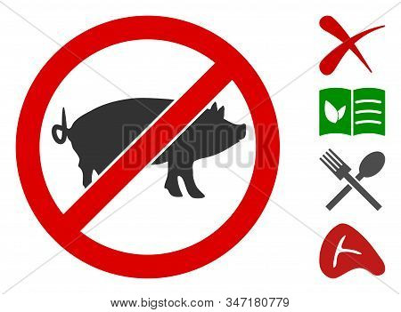 Stop Swine Icon. Illustration Contains Vector Flat Stop Swine Pictograph Isolated On A White Backgro