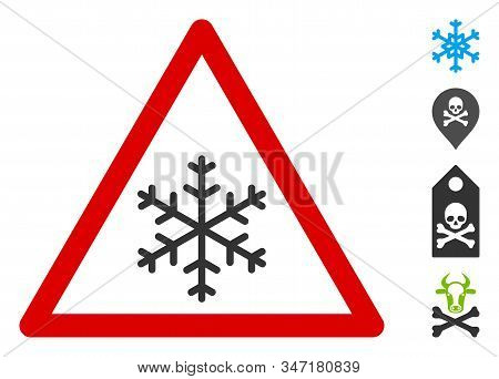 Snow Warning Icon. Illustration Contains Vector Flat Snow Warning Pictograph Isolated On A White Bac