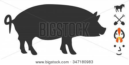 Swine Icon. Illustration Contains Vector Flat Swine Pictogram Isolated On A White Background, And Bo