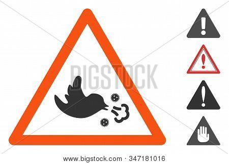 Bird Influenza Warning Icon. Illustration Contains Vector Flat Bird Influenza Warning Pictograph Iso