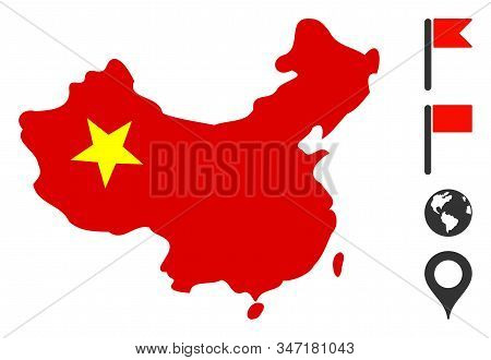 China Map Icon. Illustration Contains Vector Flat China Map Pictograph Isolated On A White Backgroun