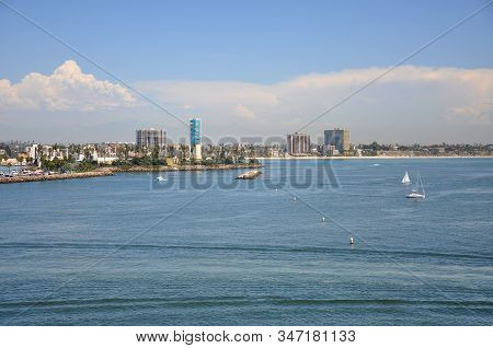 Long Beach Modern City Skyline, Marina And Shoreline Village In City Of Long Beach, Los Angeles Coun