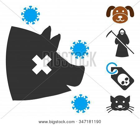 Swine Flu Icon. Illustration Contains Vector Flat Swine Flu Pictogram Isolated On A White Background