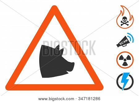 Pork Warning Icon. Illustration Contains Vector Flat Pork Warning Pictograph Isolated On A White Bac