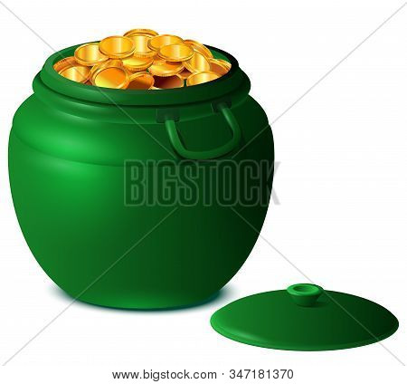 Good Luck St Patricks Day Big Green Pot Of Gold Coins. Isolated On White Vector 3d Cartoon Illustrat