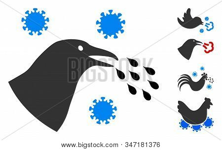 Bird Flu Infection Icon. Illustration Contains Vector Flat Bird Flu Infection Pictograph Isolated On