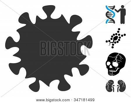 Mers Virus Icon. Illustration Contains Vector Flat Mers Virus Pictograph Isolated On A White Backgro