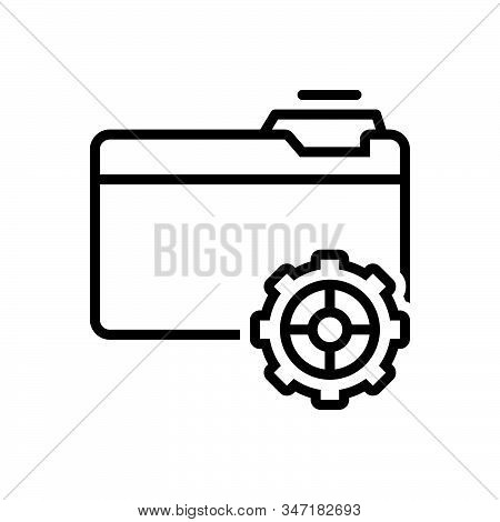 Black Line Icon For Setup Provision Setup Organisation Data File Folder