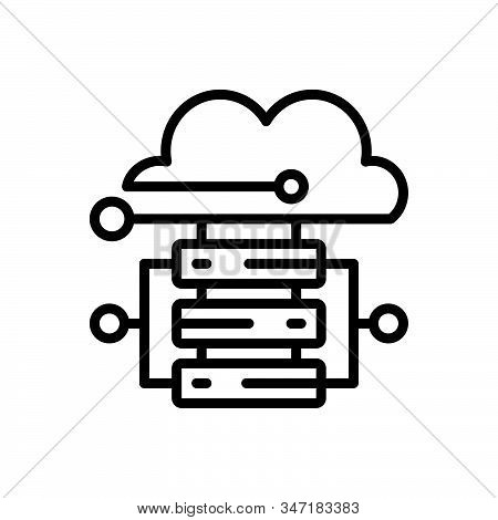 Black Line Icon For Cloud-hosting Cloud Hosting Server Database Storage Technology Connectivity