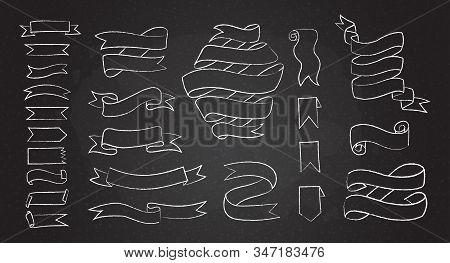 Chalk Line Hand Drawn Banner Set Vector Illustration. Black Chalkboard With Sketchy Curved Outline B