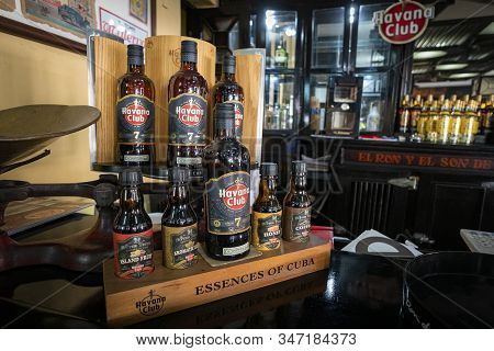 November 27, 2019, Havana, Cuba: Various Types Of Cuban Rum On The Bar In The Bar, The Museum Of Rum