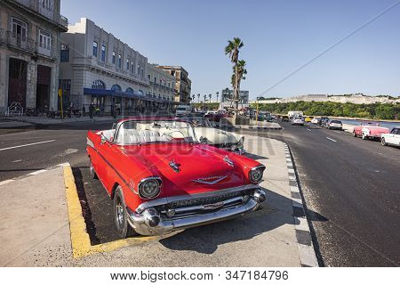 November 27, 2019, Havana, Cuba: Many Colorful Taxis Are Parked On The Malecon Promenade In The Cent