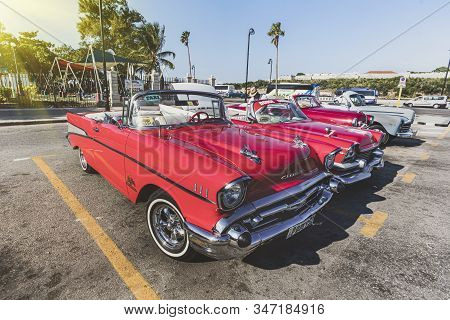 November 27, 2019, Havana, Cuba: Old Chevrolet With The Castle Of El Morro In The Background. Retro
