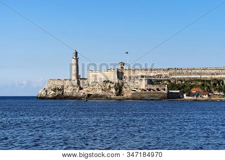 Famous Fortress And Lighthouse Of El Morro In The Entrance Of Havana Bay, Cuba