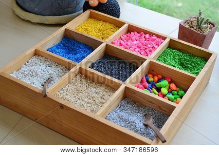 Colorful Small Gravel Rock In Wooden Box For Decorative And Gardening Plantation