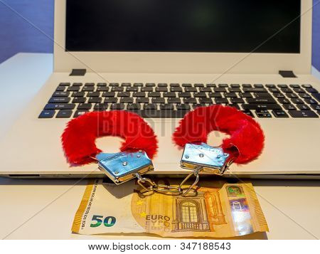 50 Euro Banknote And Santa Sexy Funny Furry Handcuffs, Colored Toy. Metal Handcuffs, Red Fabric Wrap