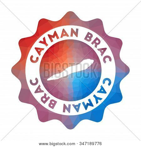 Cayman Brac Low Poly Logo. Colorful Gradient Travel Logo Of The Island In Geometric Style. Multicolo
