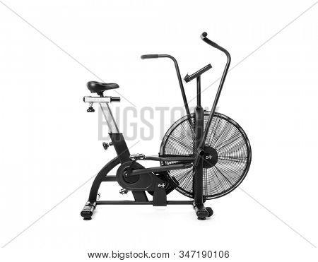 Gym bike on white background