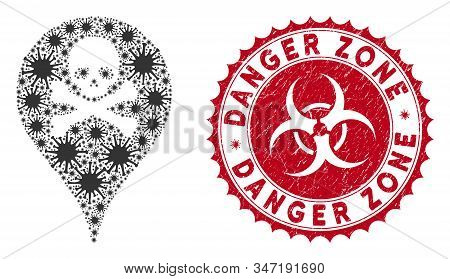 Coronavirus Mosaic Danger Zone Map Marker Icon And Round Grunge Stamp Seal With Danger Zone Caption.