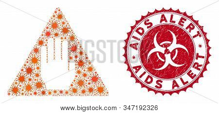 Coronavirus Mosaic Alert Icon And Rounded Grunge Stamp Seal With Aids Alert Text. Mosaic Vector Is C