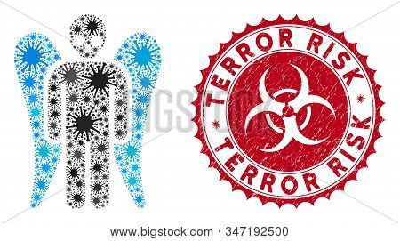 Coronavirus Mosaic Death Angel Icon And Round Rubber Stamp Seal With Terror Risk Phrase. Mosaic Vect