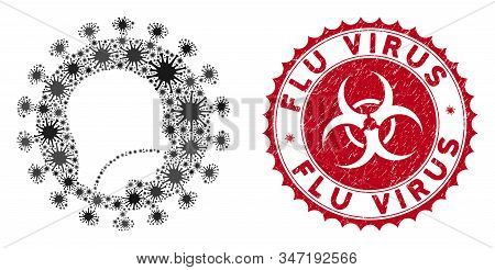 Coronavirus Mosaic Human Flu Virus Icon And Round Grunge Stamp Seal With Flu Virus Phrase. Mosaic Ve