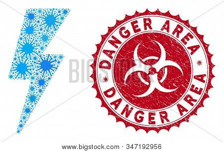 Coronavirus Collage Electric Strike Icon And Rounded Rubber Stamp Seal With Danger Area Caption. Mos