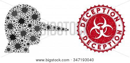 Coronavirus Mosaic Liar Icon And Round Grunge Stamp Seal With Deception Text. Mosaic Vector Is Compo