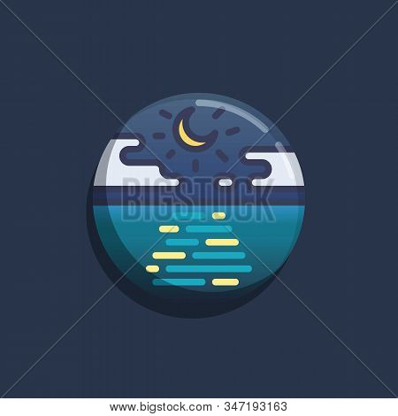 Tranquil Seascape Flat Icon. Round Colorful Button, Night Sea With Moon And Clouds Circular Vector S