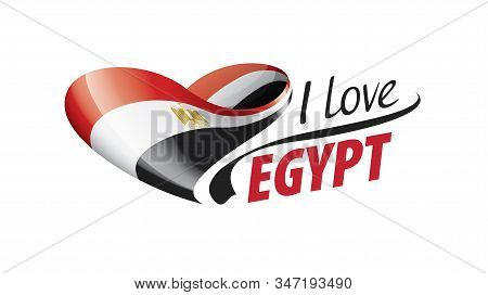 National Flag Of The Egypt In The Shape Of A Heart And The Inscription I Love Egypt. Vector Illustra